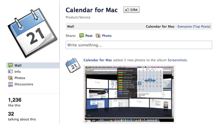 Calendar For Mac facebook Wall