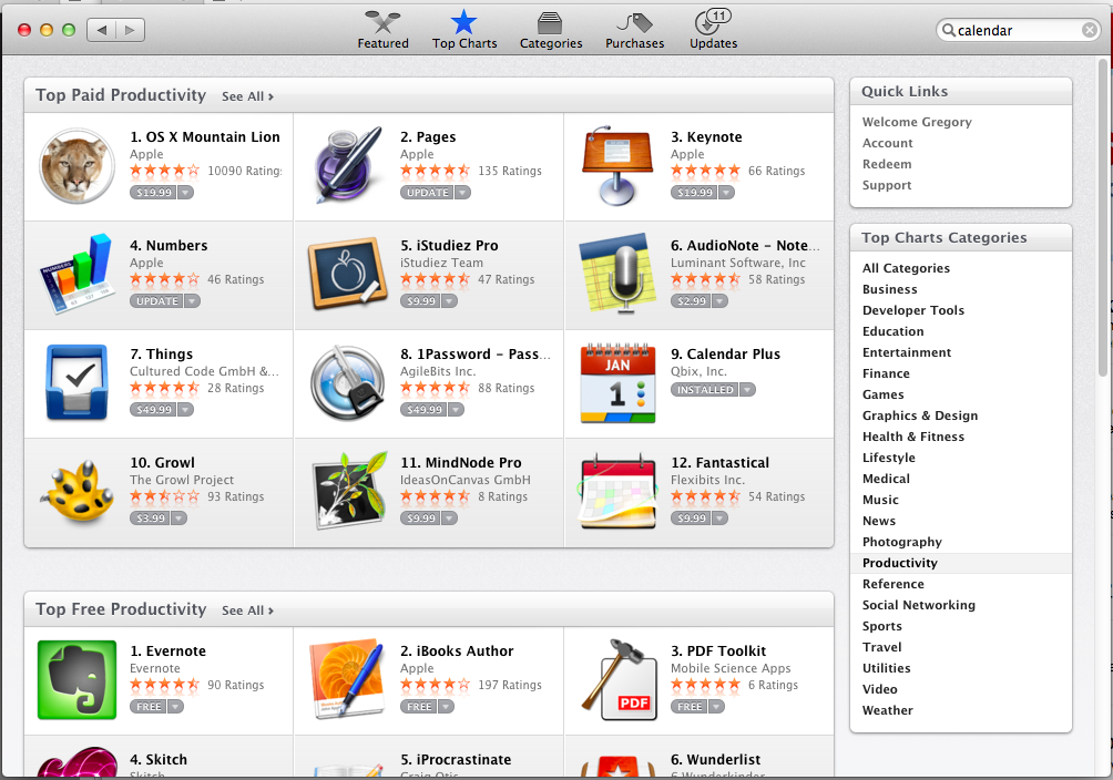 Top Productivity Apps - Mac App Store